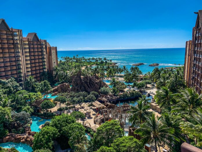 Clear day view of Aulani resort during the best time of year to visit Hawaii