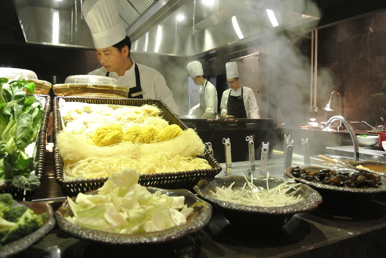 Breakfast noodle station in Shanghai, China